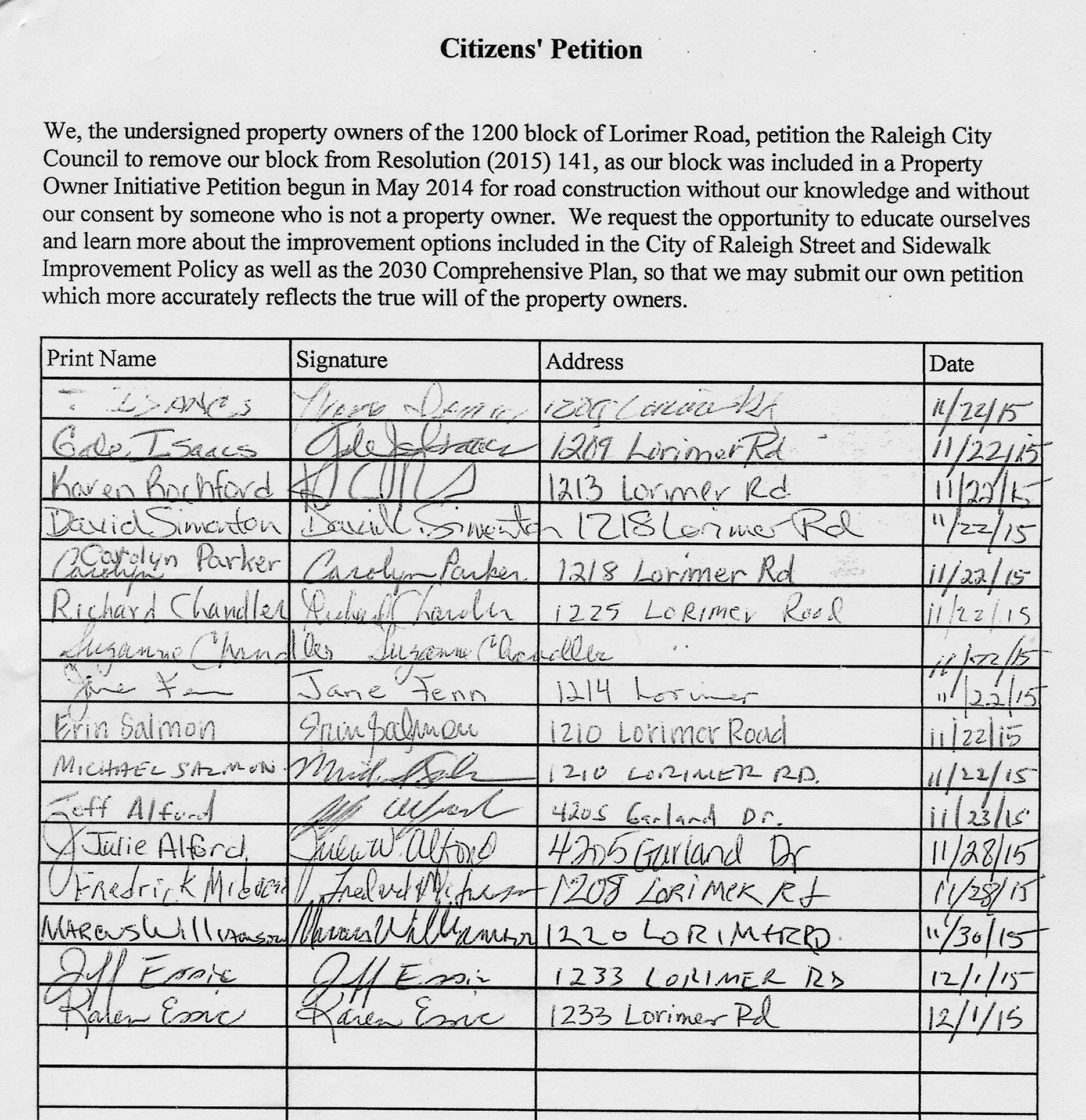 citizen u2019s petition  u2013 1200 block residents